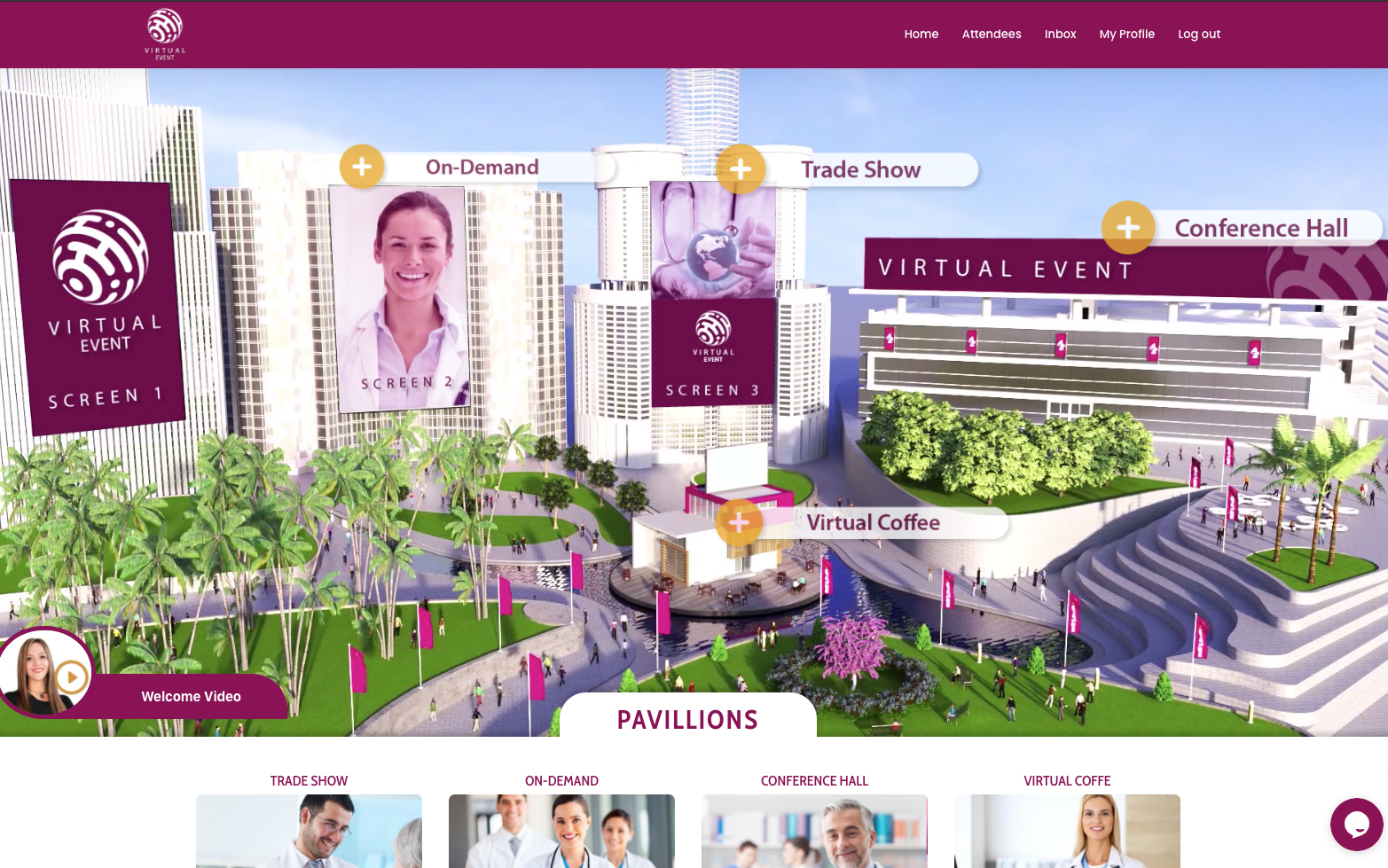 Virtual Event Landing Page - courtesy of Ebizont and their event platform